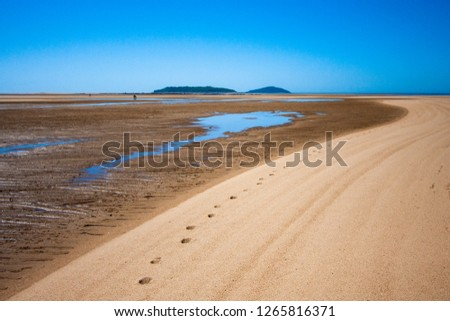 The coastal strip (coastline, beach) at low tide. A wide strip of desert sand to the horizon, a desert area with wet sand. A chain of tracks along the beach. Makey, Queensland, Australia.