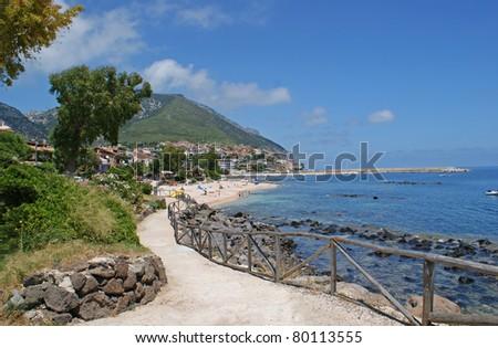 The coastline of Golfo di Orosei and the village of Cala Gonone on the west coast of Sardinia