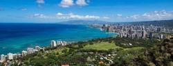 The coastline of Waikiki Beach leading into Waikiki and Honolulu in Hawaii