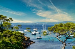 the coasts of the island of porquerolles in france, on the cote d'azur