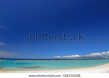 The cobalt blue sea and blue sky of Okinawa.