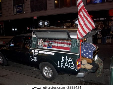 The coffin of a marine was parked in Times Square by the father of the fallen soldier on January 30th 2007.