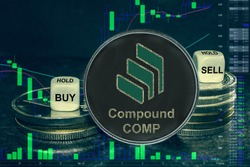 The coin cryptocurrency COMP token stack of coins and dice. Exchange chart Compound to buy, sell, hold.