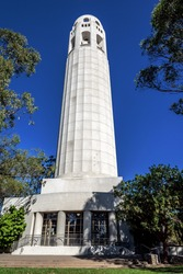 The Coit Tower photographed from the east side of Telegraph Hill in North Beach area of San Francisco, California, USA.