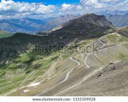 The Col de la Bonette in the French Maritime Alps is the highest public road in Europe for motorized vehicles. Many cyclists climb this pass too. #1331509028
