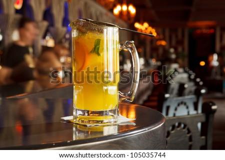 The cold fresh lemonade at the bar