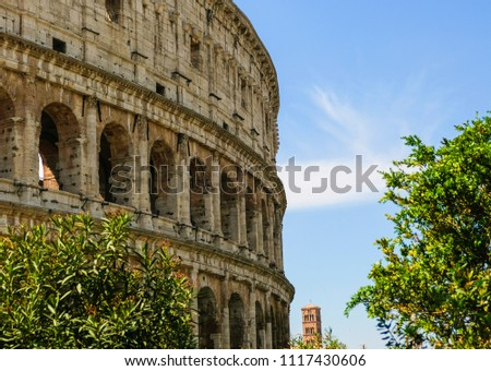 The Coliseum or Flavian Amphitheatre (Amphitheatrum Flavium or Colosseo), Rome, Italy.