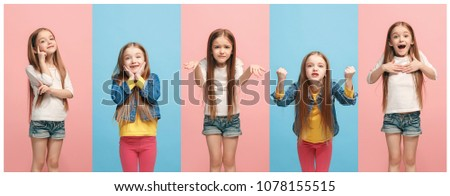 The collage of different human facial expressions, emotions and feelings of young teen girl. Human emotions, facial expression concept. #1078155515