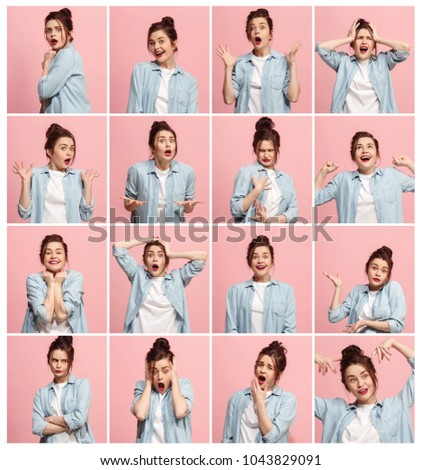 The collage of different human facial expressions, emotions and feelings of young woman. Happy businesswoman standing and smiling isolated on studio background. Human emotions, facial expression Foto d'archivio ©