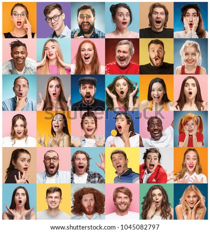 The collage of faces of surprised people on colored backgrounds. Happy men and women smiling. Human emotions, facial expression concept. collage of different human facial expressions, emotions #1045082797