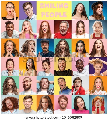 The collage of faces of surprised people on colored backgrounds. Happy men and women smiling. Human emotions, facial expression concept. collage of different human facial expressions, emotions #1045082809