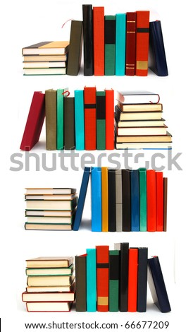 the collage textbooks on white table