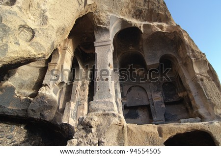the collapse of the cavity shows the interior columns carved in the rock of a cave church in Yaprakhisar near the Ihlara valley in Cappadocia - Turkey