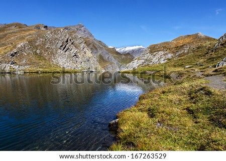 The collar of Longet, the Italian French border collar, by the hillside of the lake blue, Italy