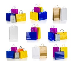 The collection of bright gift bags isolated on white background