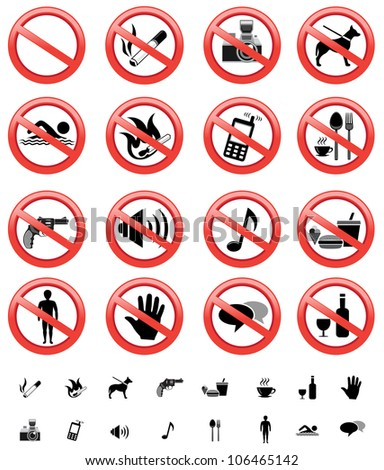 The collection of forbidden signs, with several printable versions, isolated on the white background
