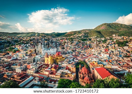 The colonial town of Guanajuato in Central Mexico is home of some of the most visually stunning Mexican architecture. Guanajuato, Mexico.