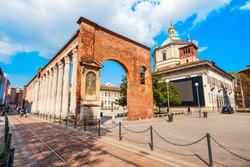 The Colonne or Columns di San Lorenzo is an ancient Roman ruins located in front of the San Lorenzo Basilica in Milan, Italy
