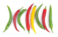 The color chili peppers on a white background