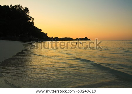 The color  of sunset at Similan island . South of Thailand