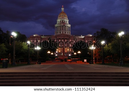The Colorado State Capitol Building at night