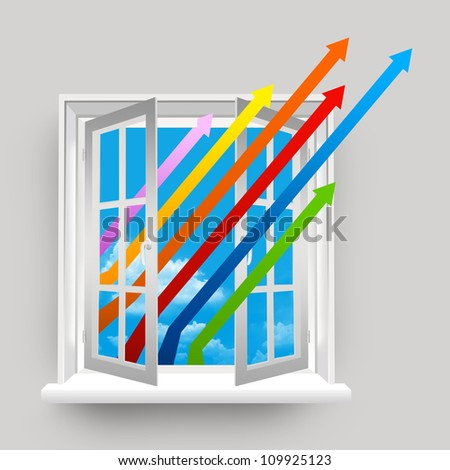 The Colorful Business Growth Arrow Through The Open Window