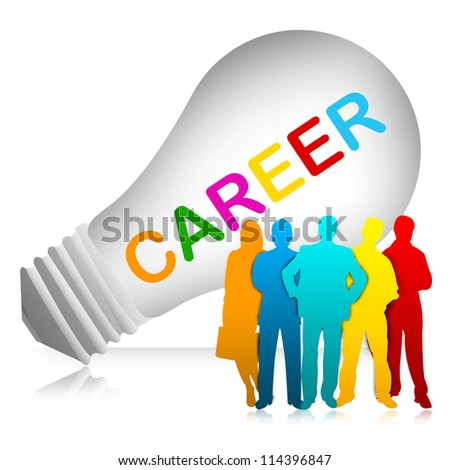 The Colorful Businessman And Colorful Career Text Inside The Light Bulb For Job and Business Concept  Isolated on White Background