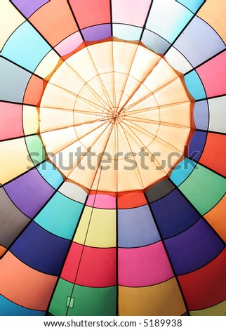 The colorful design of the inside of a hot air balloon.
