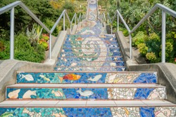 The colorful Mosaic Stairway at San Francisco, California
