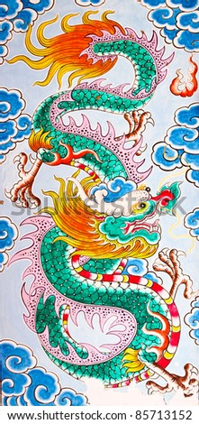 The Colorful of old painting dragon on the wall of chinese temple in thailand