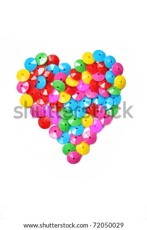 The colorful of stud that is in heart shape