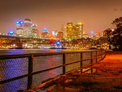 The colorful skyline of sydney during the night