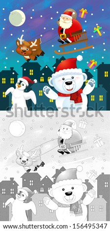 The coloring christmas page with colorful preview - greeting card - illustration for the children