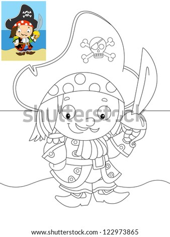 The coloring page - pirate captain - illustration for the children