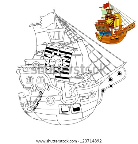 The coloring page - pirate ship - illustration for the children