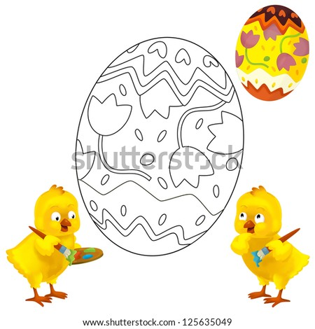 The coloring plate - easter - illustration for the children