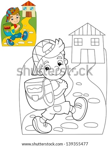 The coloring plate - kid going to school - illustration for the children