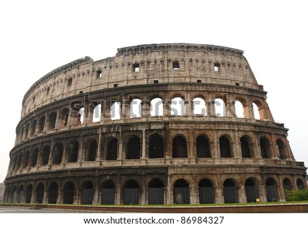 The Coloseum of Rome- over white
