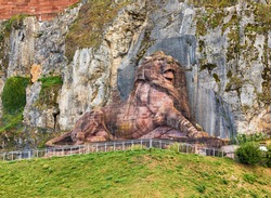 The colossal Lion of Bartholdi monument above Belfort, France