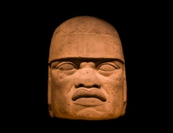 The colossal stone head of the Jaguar-Man, typical of the Olmecs civilization.
