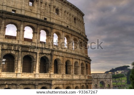 The Colosseum and the Arch of Constantine at sunset, Rome, Lazio, Italy