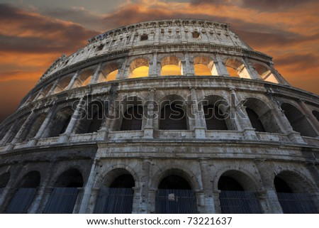 The Colosseum at a sunset, Rome, Italy.