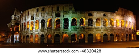 The Colosseum at night. Most famous place of view in Rome, Italy.
