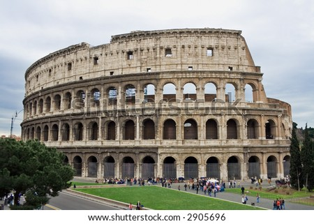 stock photo : The Colosseum, famous ancient amphitheater in Rome, Italy.