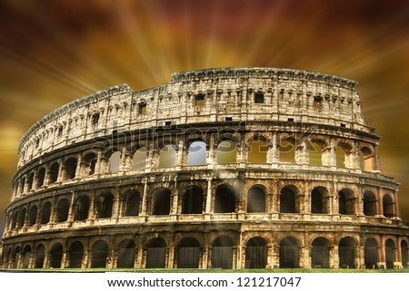 The Colosseum in Imperial Rome - stock photo
