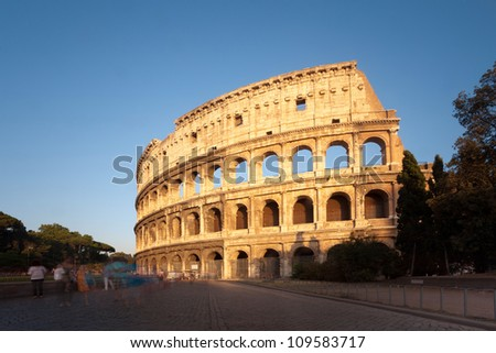 The Colosseum in Rome at sunset, Italy, Europe