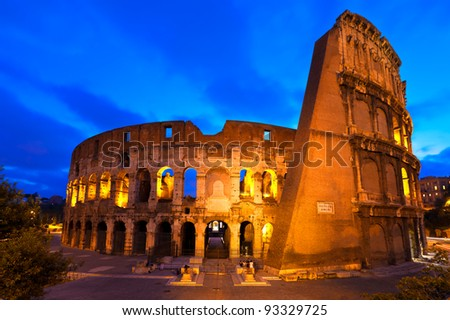 The Colosseum in Rome at the Blue Hour