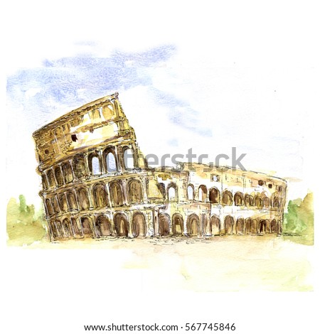 The Colosseum, Italy, architecture watercolor