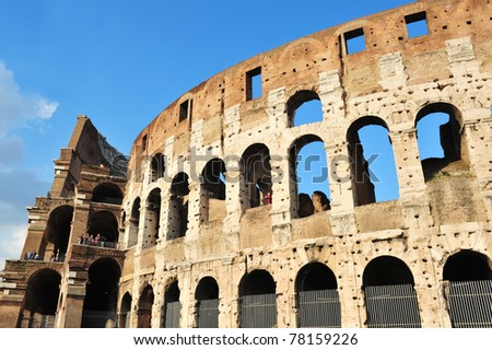 The Colosseum of Rome, Italy.Flavian Amphitheatre is one of Rome's most popular tourist attractions and a famous landmark in Rome.