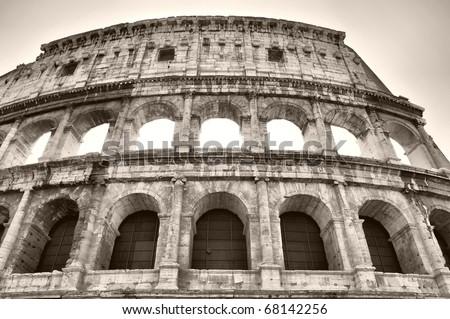 The Colosseum or Coliseum (Colosseo) in Rome - sepia